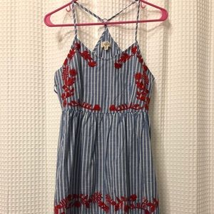 Striped summer dress with embroidery
